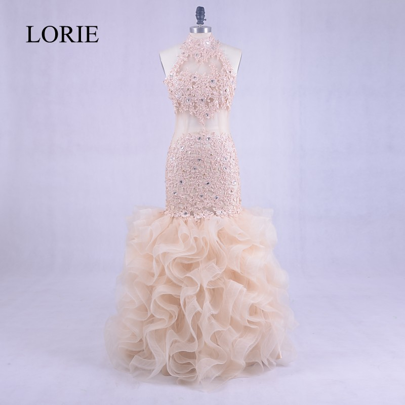 Abendkleider 2018   Evening     Dresses   Long Sheer Lace Sexy Women Light Champagne Prom   Dress   Mermaid Formal Party Gown Floor Length