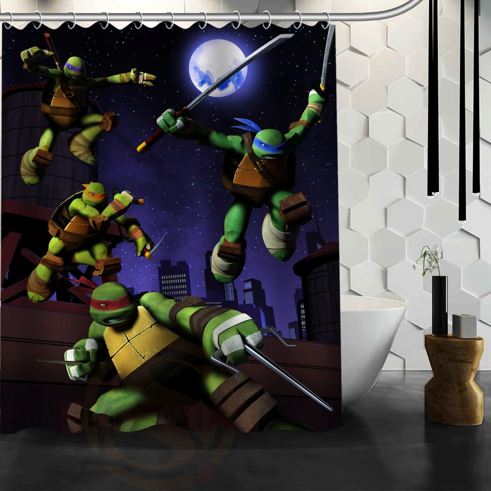 Dark knight shower curtain - Hot Cartoon Film Teenage Mutant Ninja Turtles Character Image Printed Bathroom Shower Curtain House Decor Best