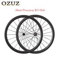 OZUZ Super light weight Clincher Tubular Aero Spoke Wheel 38mm Road Carbon Wheelset 3K Matte Bike Wheel Powerway R13 Hub wheels