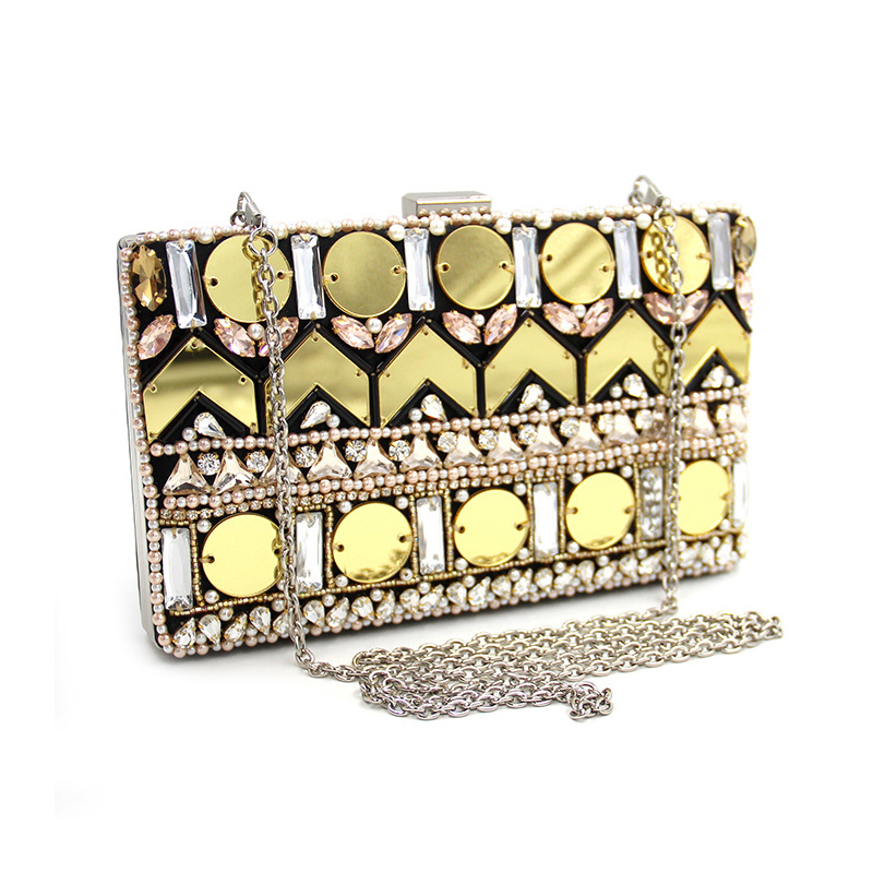 Women Frame Party Purse Clutch Bag New Chains Messenger Bags For Women Luxury Geometric sequins hand bead Clutches Evening bag