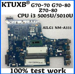 KTUXB AILG1 NM-A331 is suitable for Lenovo G70-70 G70-80 Z70-80 notebook motherboard CPU i3 5005U/5010U DDR3 100% test work(China)