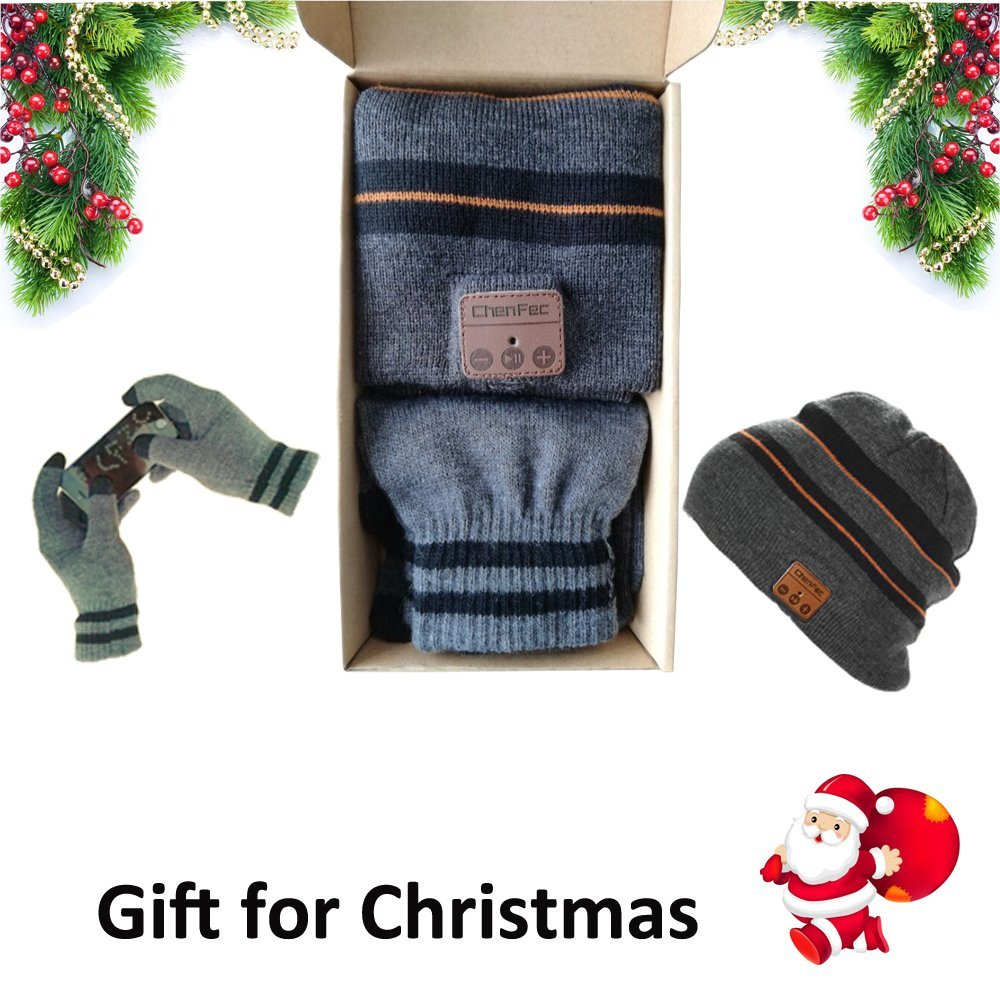 Wireless Bluetooth Music Hat, Removable Stereo Headphones, Charges via USB, Unique & Delightful + Touch Gloves, Christmas Gift bluetooth beanie hat and touchscreen gloves knitted bluetooth music hat built in stereo speakers winter hat for outdoor sports
