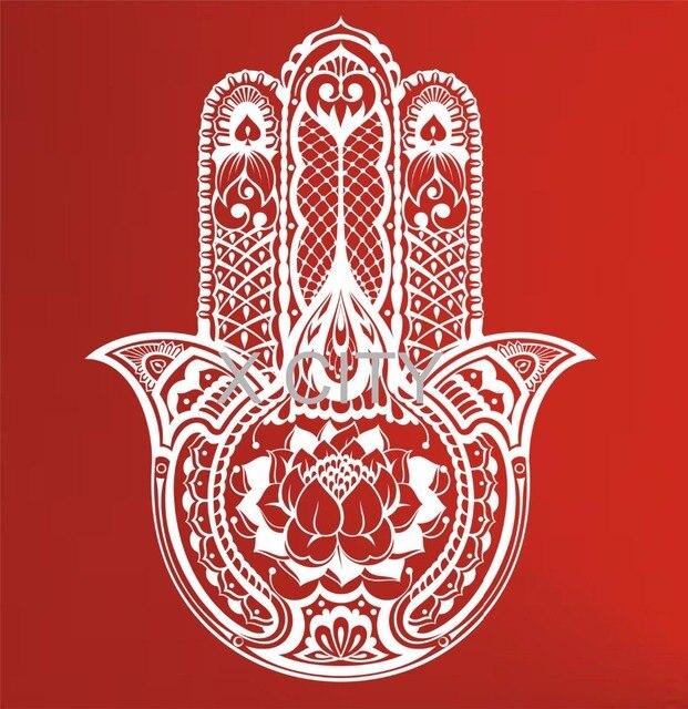 Hamsa Tangan Wall Decal Vinyl Stiker Seni Dekorasi Eye Indian Buddha Yoga Fatima OM