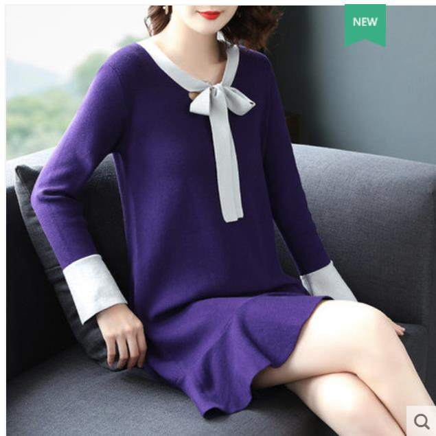 Big size autumn women fat mm2018 new belly covering sweater knitted dress hidden meat fashion V