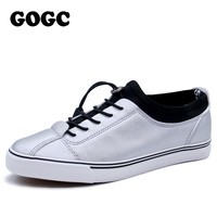 GOGC 2017 Women Flat Shoes Breathable Ladies Leather Shoes Summer Spring Creepers Casual Slip On Women