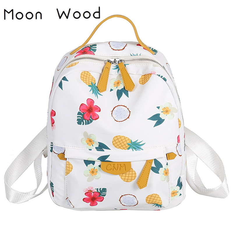 Moon Wood Fresh Style Floral Pineapple Printing Backpack Women Fashion Small Travel Backpack Waterproof Girls School Book Bag