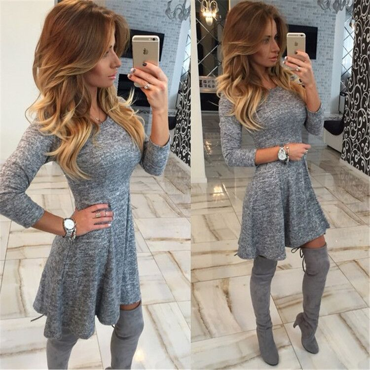 2016 Winter Dress Long Sleeve Women Casual Sweater Dresses Ruffle