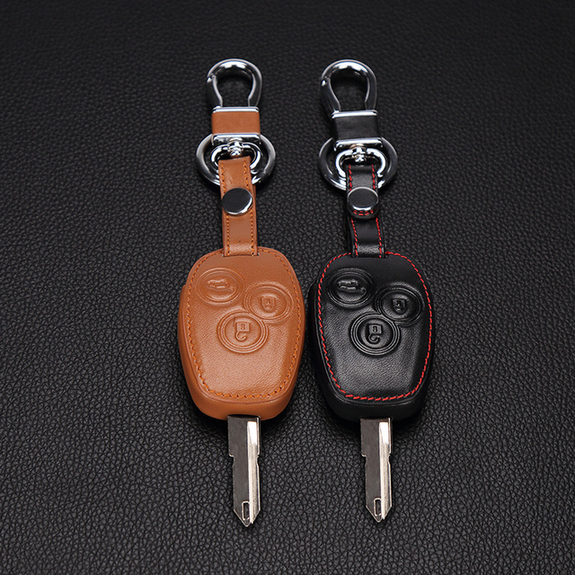 3 button Leather key bag Car Remote Key Case Shell Cover For Renault Clio Scenic Megane Duster Sandero Captur Twingo Modus
