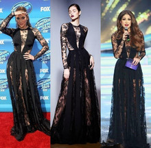 Black Illusion Long Sleeve Sheer Lace A Line Formal Dresses Evening Gowns Party