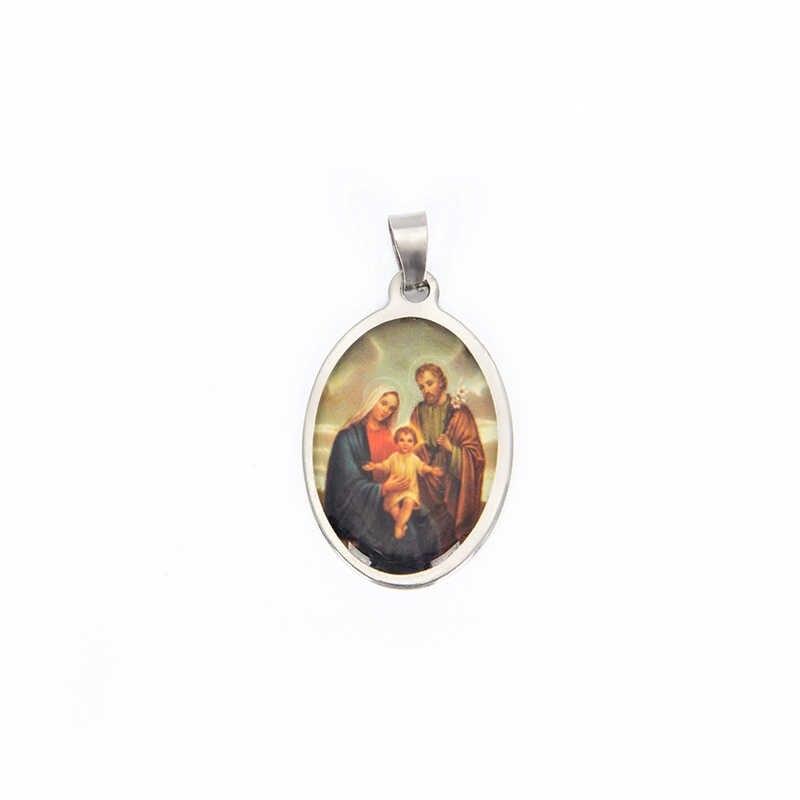 宗教教会メダル聖人クロススペーサービーズペンダントカトリックペンダント楕円形混合宗教メダル