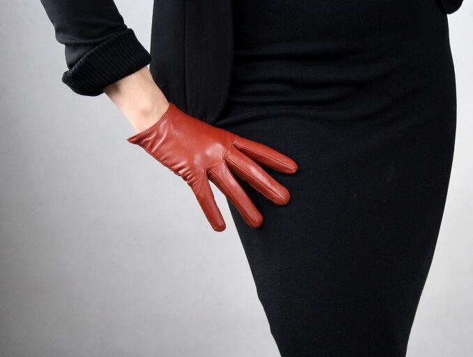 Women's Short Design Sheepskin Gloves Thin Genuine Leather Gloves Touch Screen Brown Motorcycle Glove R632