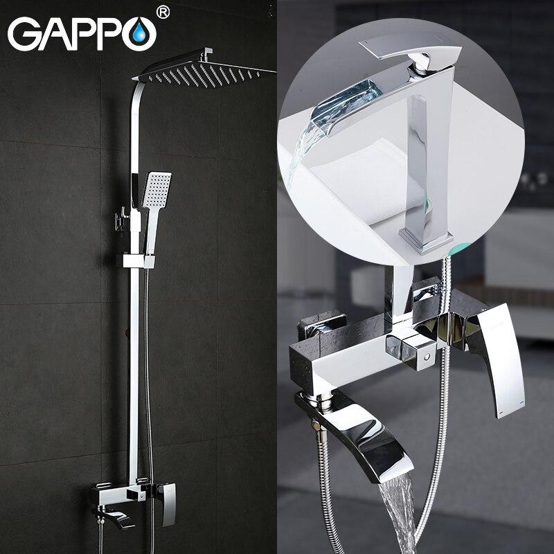 GAPPO Louça Sanitária Banho chuveiro com torneira da bacia de bronze conjunto de chuveiro do banheiro chrome torneira da banheira misturadores sistema de chuveiro