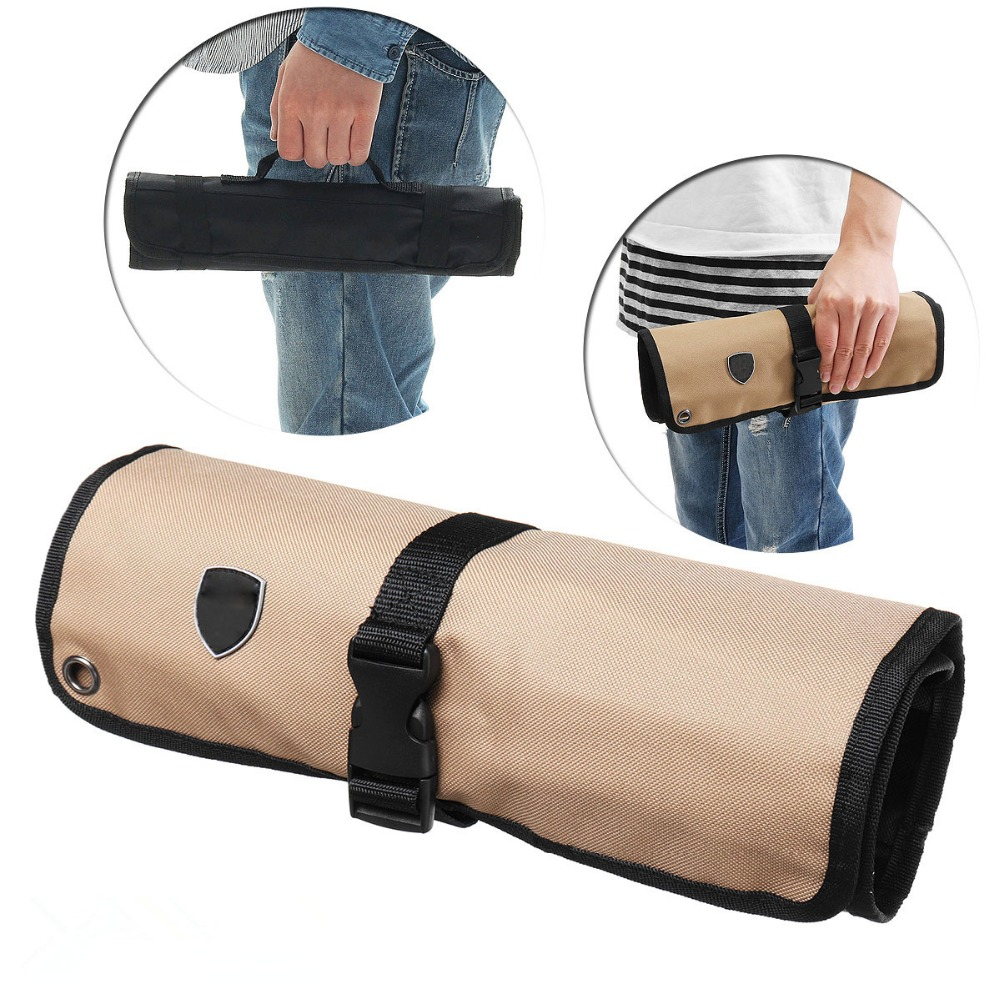10 Pockets Chef Knife Bag Kitchen Cooking Portable Durable Storage Pockets Black Blue Red Roll Bag Carry Case Bag Home Garden