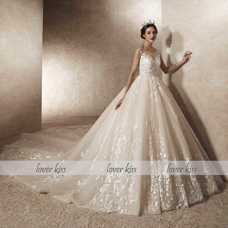 Lover Kiss Vestidos Novias Boda 2019 Sexy Grand Wedding Dress Long Train Real Photo Design Bride Gowns Dresses Robe De Mariage
