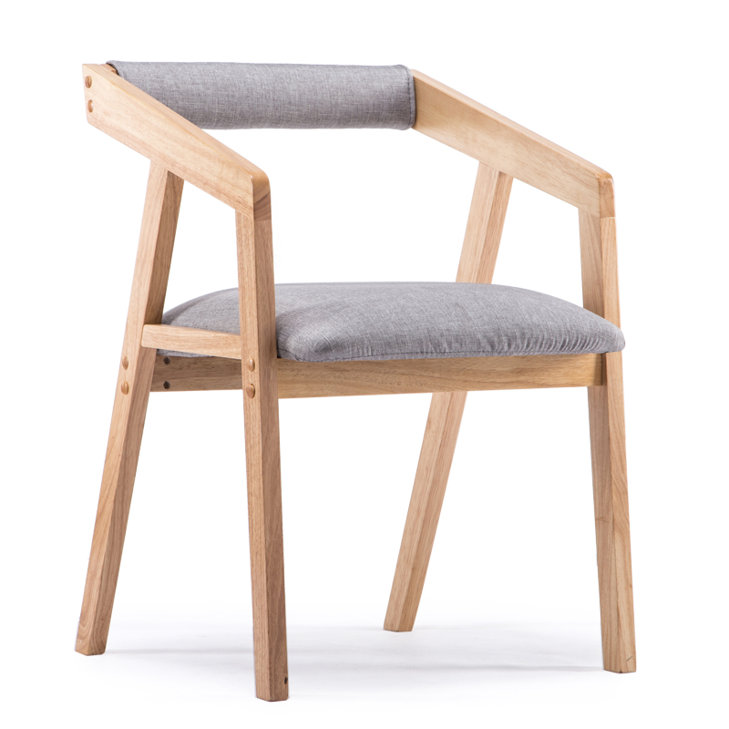 Nordic dining room chair coffee chair arm-armed wood cotton dining chair leather bar chair leisure sofa living room chair
