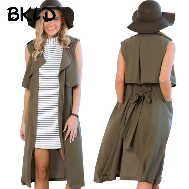 BKLD Casual   Trench   For Women Slim Ladies Sleeveless Army Green Coat Long Female   Trench   Coat Femme Spring Summer With Belt
