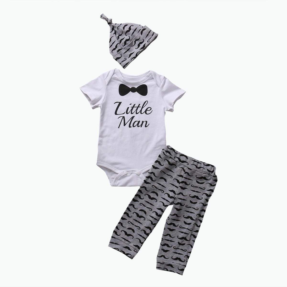 2017 New Arrivals Baby Boys Gentleman Short Sleeve Romper+Long Pant+Hat 3pcs Summer Cotton Cute Sunsuits Casual Baby Sets