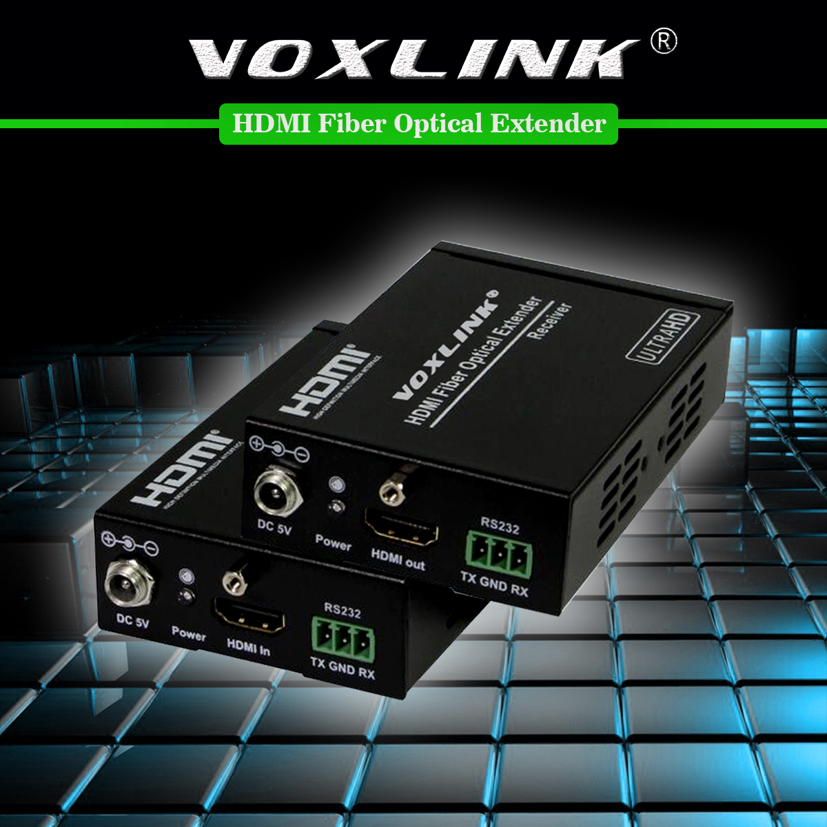 VOXLINK 4K*2K 3D HDMI Fiber Optical Extender Over 1KM Fiber Cables HDMI Transmitter Receiver Support HDCP1.3 RS232 EDID 80 channels hdmi to dvb t modulator hdmi extender over coaxial