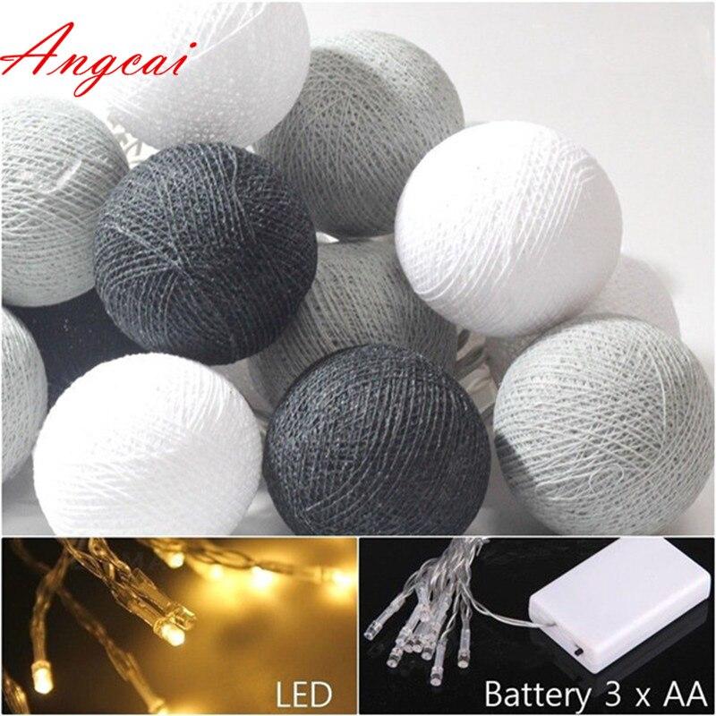 Смешанные 20 черный серый белый ватный шарик led батарея питание гирлянды фея, декор вечерние, свадебные патио Рождественский подарок