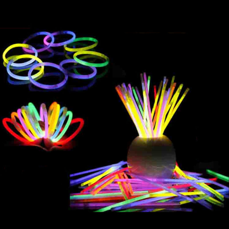 100pcs Creative Variety Luminous Stick Fluorescent Light Stick Bracelet Necklace Concert Party Supplies Children's Glowing Toys
