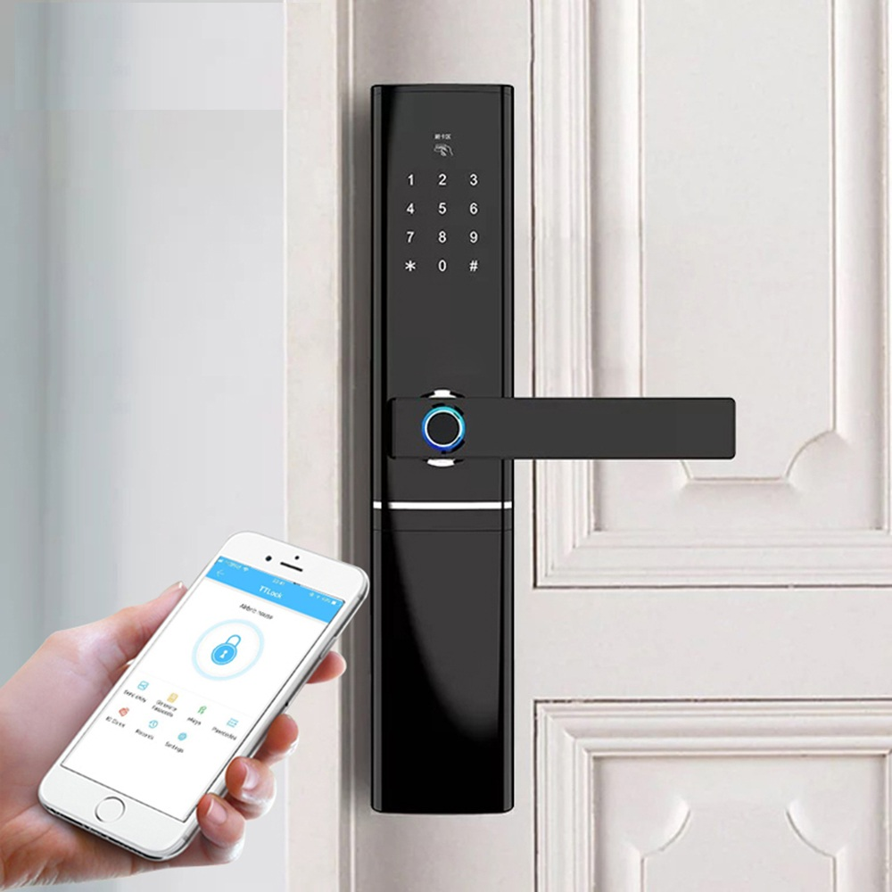 Serrure d'empreinte digitale de WIFI, serrure de porte intelligente d'app Bluetooth d'empreinte digitale biométrique électronique sans clé