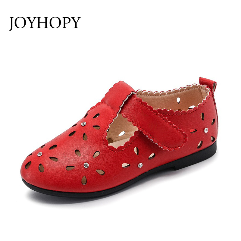 2018 Spring Fashion Girls Shoes Flat PU leather Baby Shoes Elegant Hollow Out High Quality Children Kids Shoes