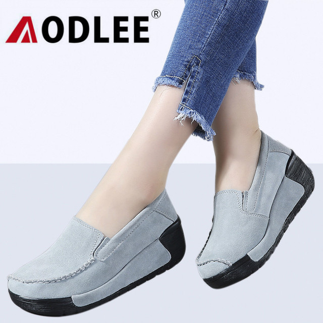 reputable site 05eeb e9b3e AODLEE Plus Größe 42 Frauen Wohnungen Plattform Faulenzer Damen Schuhe Aus  Echtem Leder Mokassins Creeper Frau Slip Auf Oxford
