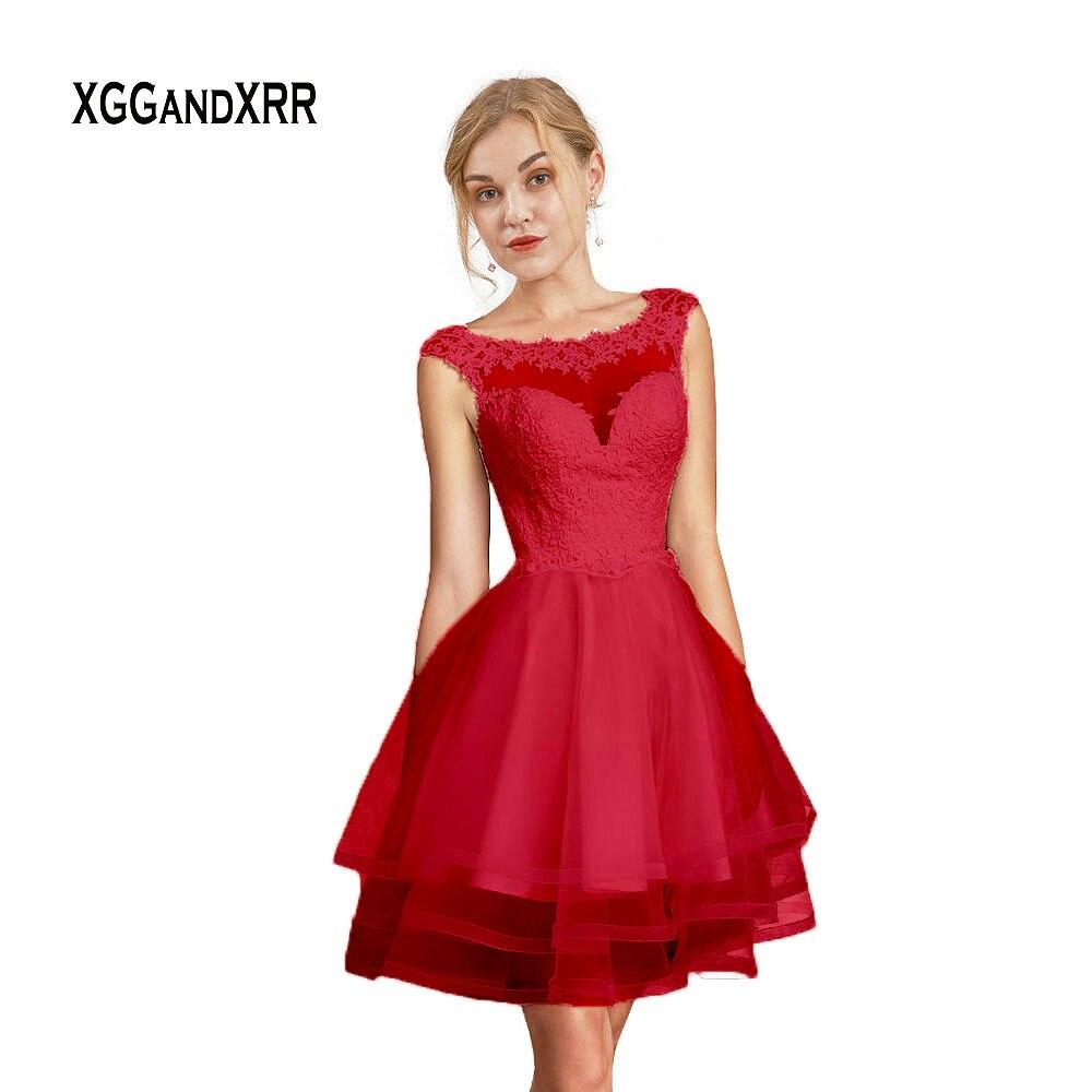 Nouvelle robe De bal courte rouge 2019 robe De soirée dentelle Applique Scoop Cap manches dos nu Mini coing Puffy jupe Vestidos De Fiesta