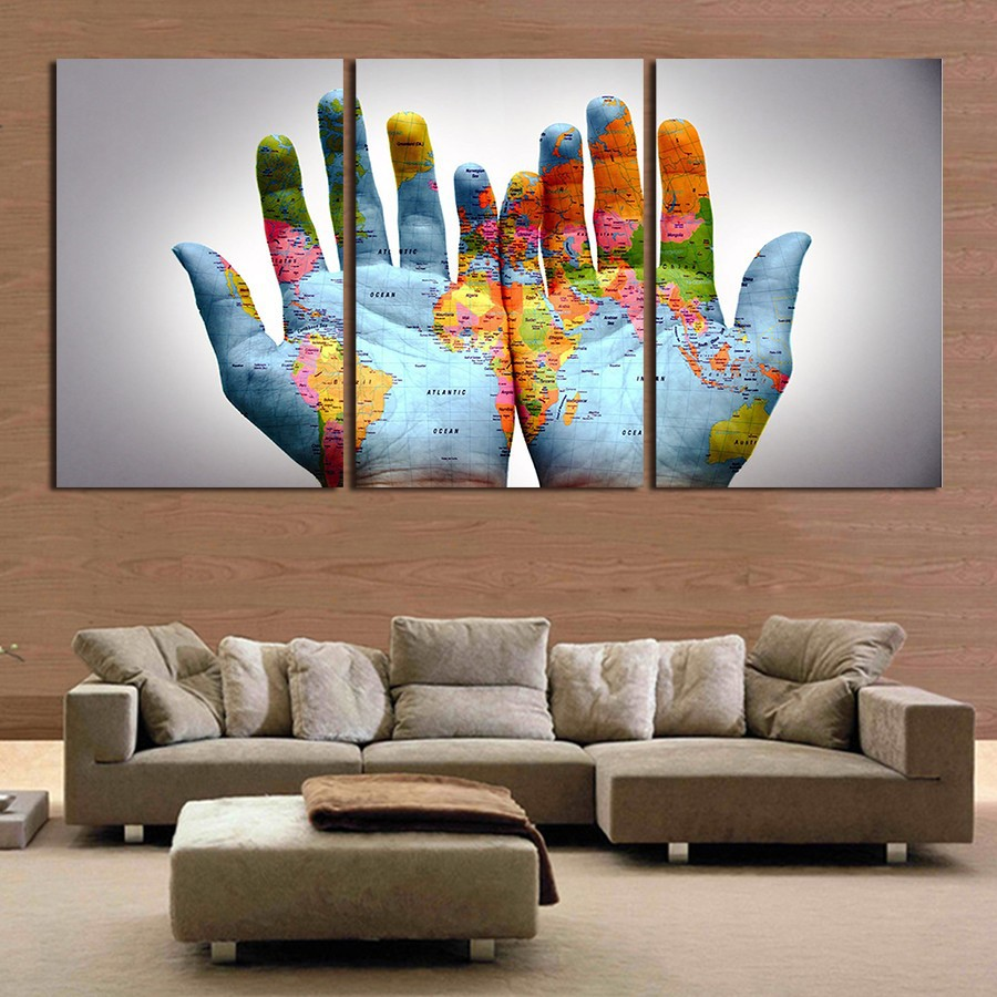 Aliexpress Com Buy Unframed 3 Panel Vintage World Map: 3 Panel Unframed Large Modern Printed World Map In Hand