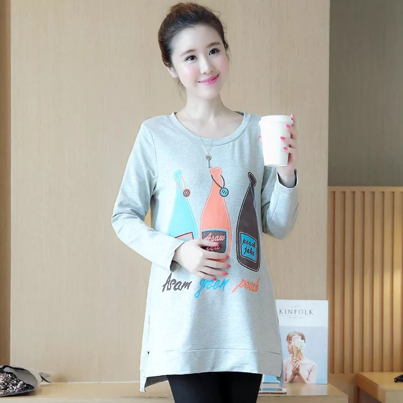 2018 Autumn Fashion Maternity Nursing T shirts Long Sleeve Print Breastfeeding T Shirts for Pregnant Women Pregnancy Tops
