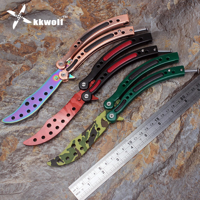 kkwolf cs go counter strike karambit knife game folding knife butterfly rainbow game knife. Black Bedroom Furniture Sets. Home Design Ideas