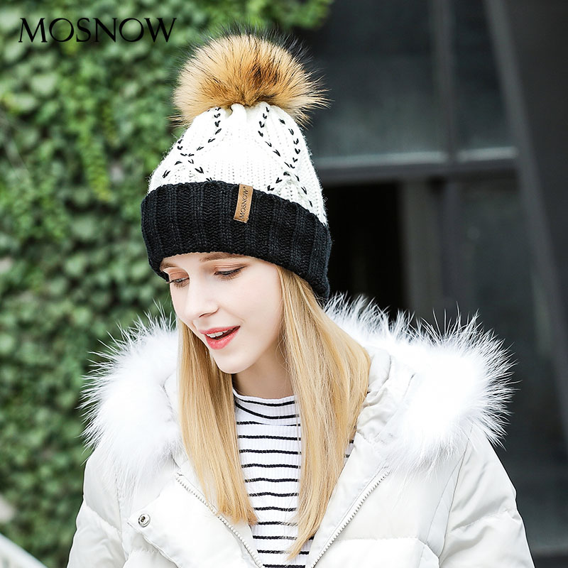 MOSNOW   Skullies     Beanies   Winter Hats Patchwork Fur Pompom Fashion Brand   Beanies   For Girls New 2018 Knitted Hat Female