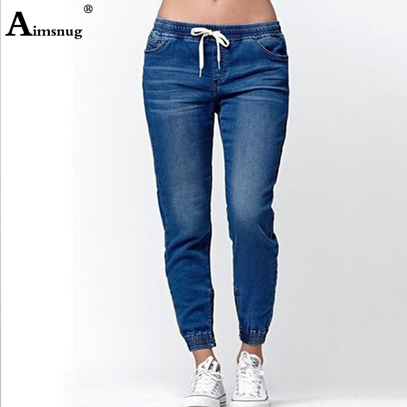Plus Size S-5XL Summer Women Denim Trousers Ladies Long Pants Overalls Boyfriend Jeans Elastic Waist Lace-up Female Jeans Pants