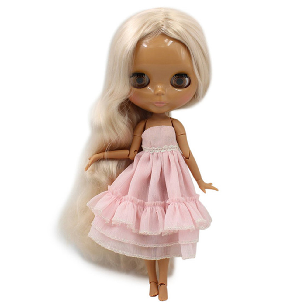 Fortune Days Nude Blyth doll No 3139 Champagne hair without bangs JOINT body Chocolate skin Factory