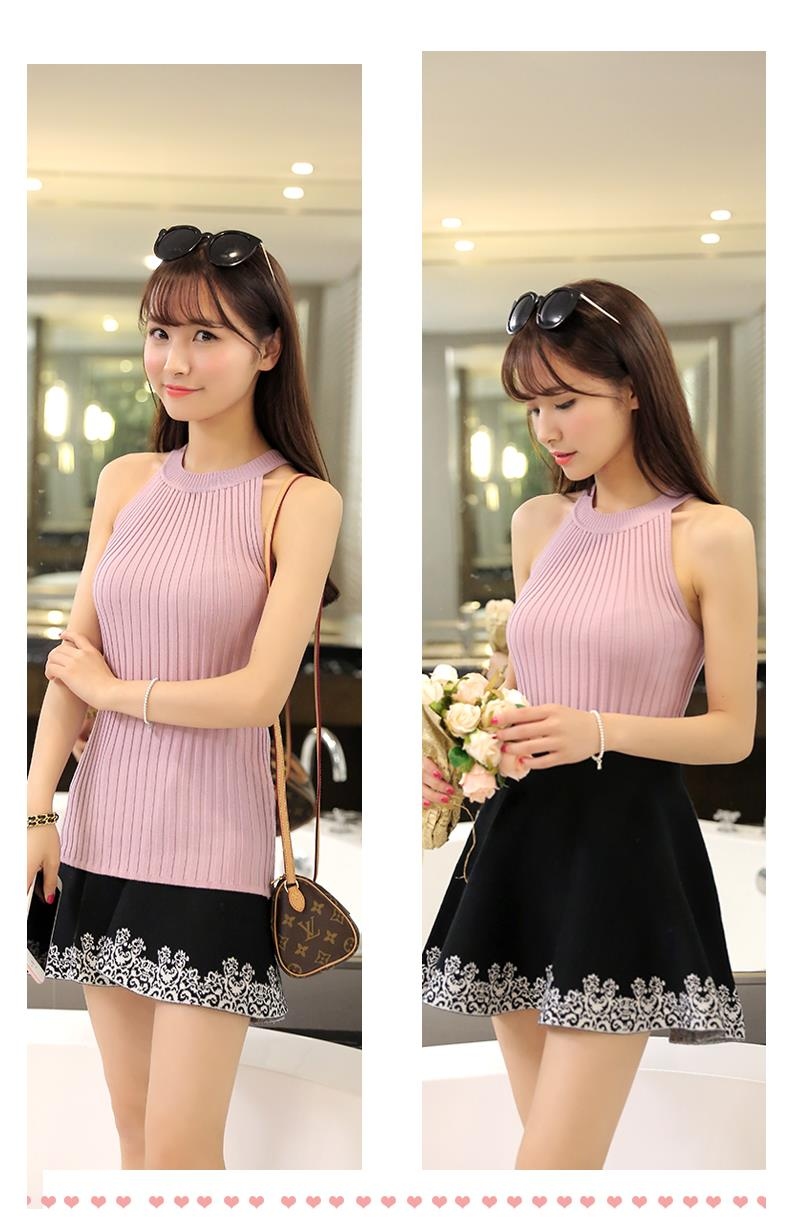 Women Spring Summer Sweater tanks sleeveless Knitted Camis Slim Halter Neck Sexy Strapless 21