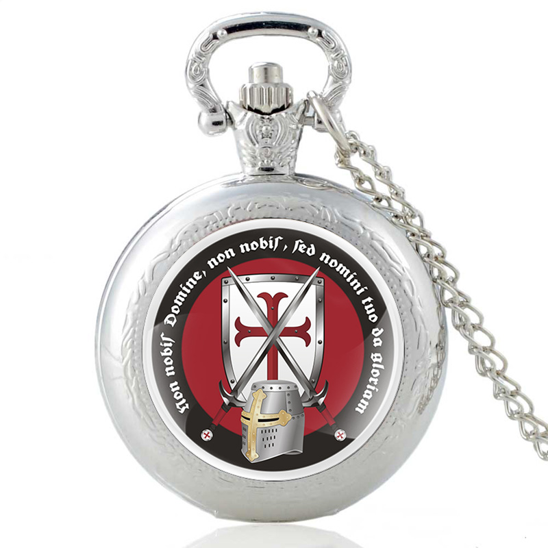 Silver Knight Templar Quartz Pocket Watch Vintage Men Women Cross Steampunk Pendant Necklace Clock Gift