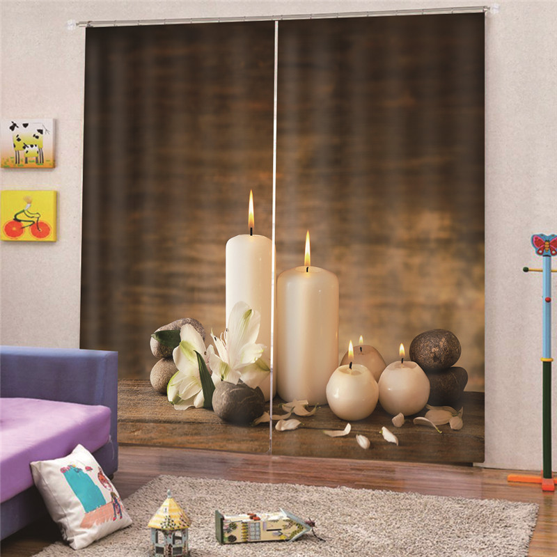 3D Digital Print Candle Beauty Digital Photo Printing Blackout Curtains For Living Room Bedroom Hotel Drapes Cortinas Para M19