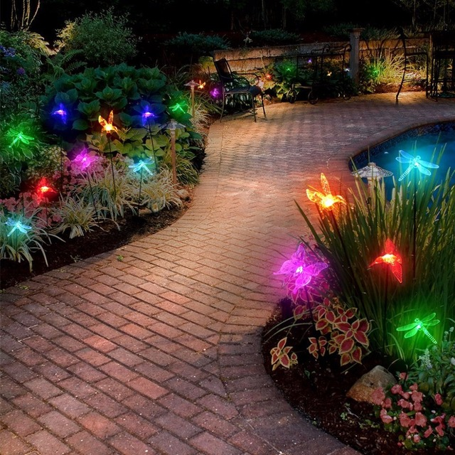 Color changeable solar stake light hummingbird butterflydragonfly color changeable solar stake light hummingbird butterflydragonfly outdoor garden solar light holiday wedding mozeypictures Choice Image