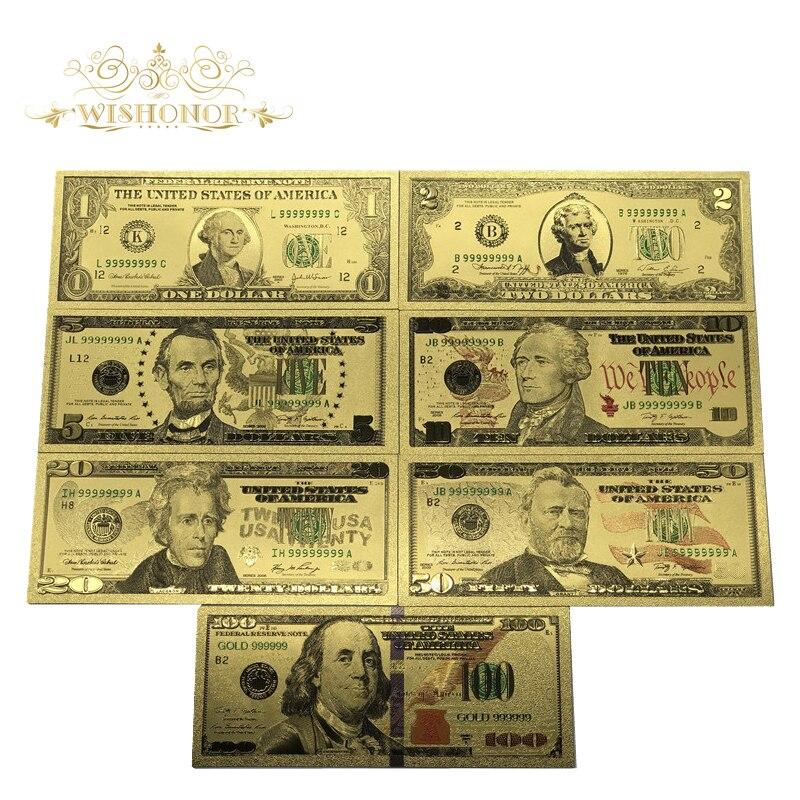 Melhor preço para o conjunto completo 7 pces eua $1-100 dólar notas de ouro colorido dinheiro do mundo para lembranças, ouro notas de banco navio da gota