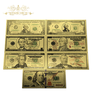 Best Price For Full Set 7pcs USA $1-100 Dollar Gold Banknote Colorful World Money For Souvenirs, Golden Bank Notes Drop Ship(China)