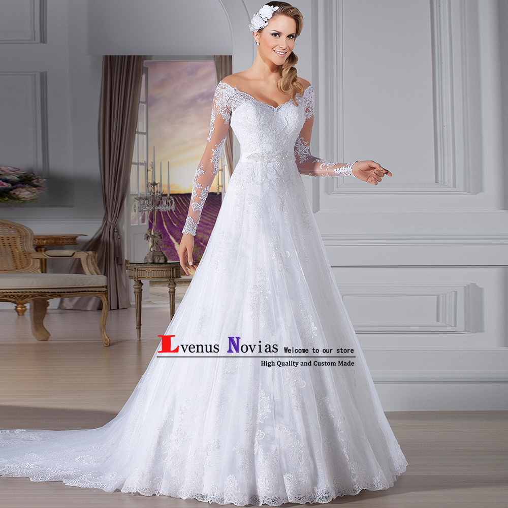 Vestido de noiva 2018 Cheap China Bridal Gown Sexy V neck Long Sleeve Wedding Dress White