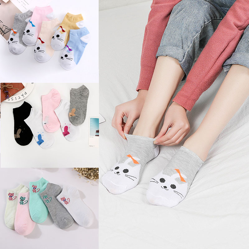 2019new Cute Harajuku Animal Socks Female Summer Korean Version Of The Cat Bear Rabbit Funny Low To Help Ankle Socks Happy Socks