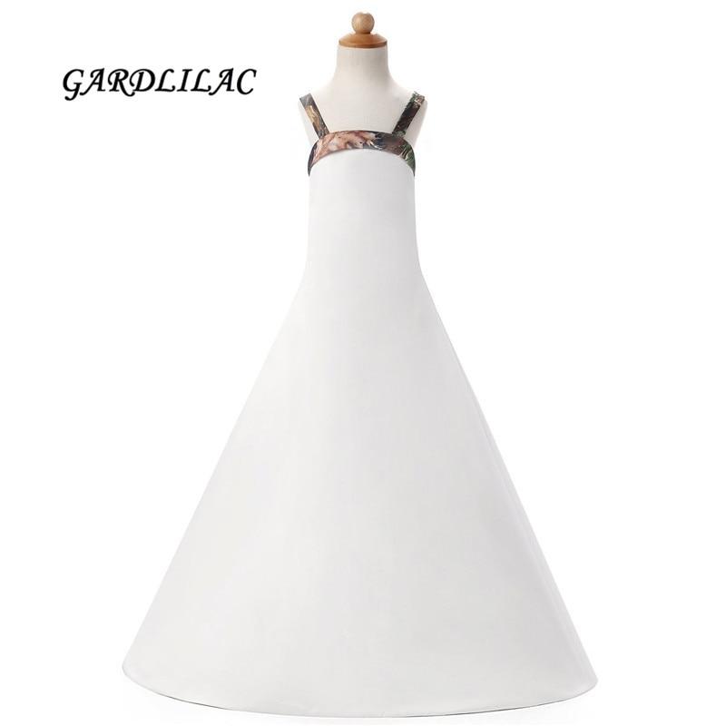 2017 White Satin Camo   Flower     Girls     Dresses   Floor Length Pageant   Dress   For   Girls   Camo   Flower     girl     dress   for wedding