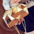 2016 новая мода геометрические трехмерной металлической цепью женская сумка вечерняя сумочка день клатчи мини кошелек свадьба сумка