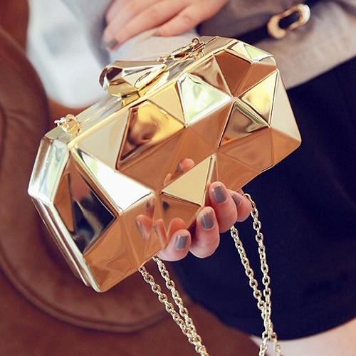 2017 new fashion geometric three dimensional metal chain ladies handbag evening bag day clutches mini purse