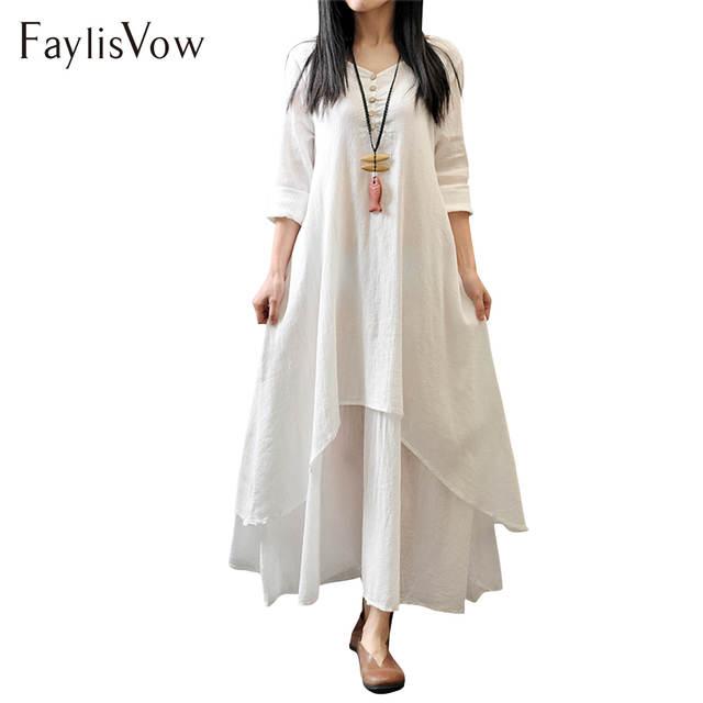 US $10.93 23% OFF|Retro White Maxi Dress Plus Size Women Boho Long Sleeve  Two Layers Irregular Hem Summer Dresses Female Baggy Solid Beach Kaftan-in  ...