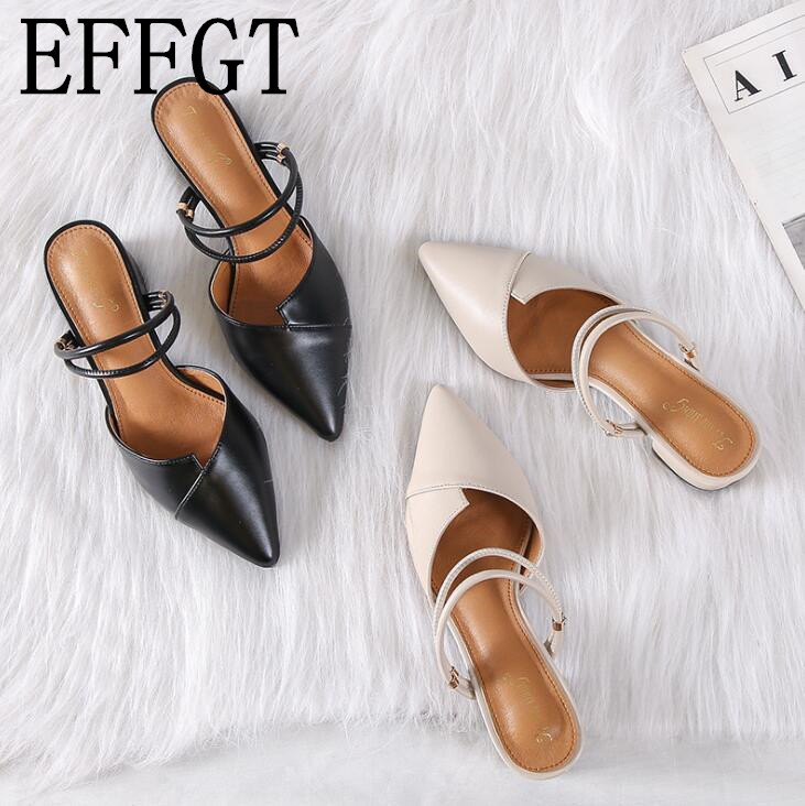 EFFGT Party Women Mules Slipper Pointed Toe Single Shoes Shallow Mid Heel Casual Slipper Black Beige Korean Summer Sandals