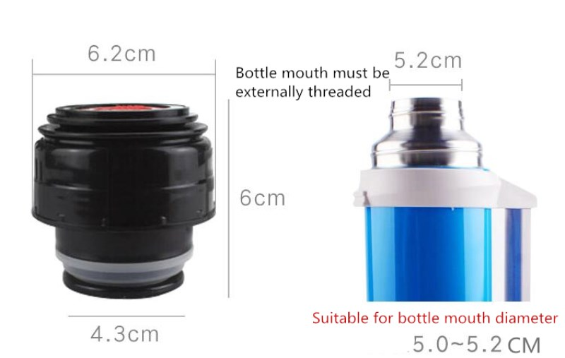 ANJIALT 5.2cm Thermos Bottle Cover Thermo Mug Stopper Thermos Cover Coffee Thermal Cup Lid Stainless Watter Vacuum Flask Cap