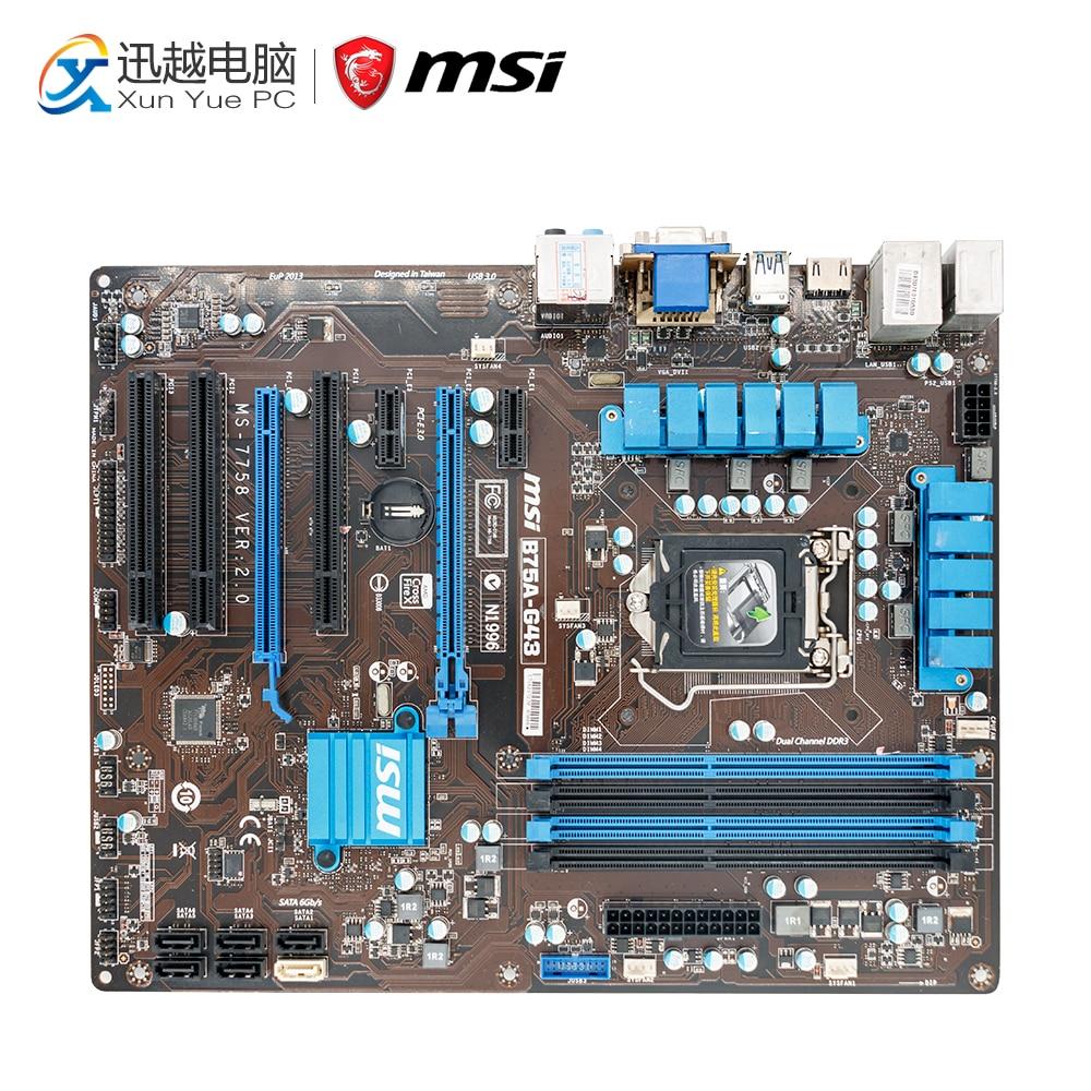 все цены на MSI B75A-G43 Desktop Motherboard B75 Socket LGA 1155 i3 i5 i7 DDR3 32G SATA3 USB3.0 ATX онлайн