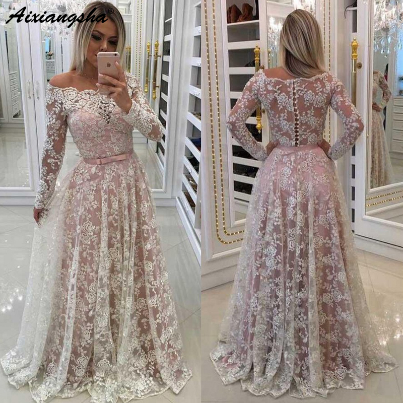 Lace Muslim   Evening     Dresses   2019 A-line Off Shoulder Long Sleeves Plus Size Saudi Arabic Dubai Long   Evening   Gown Formal   Dress